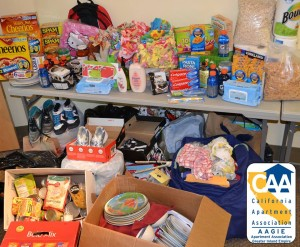 Some of the donations the  CAA-AAGIE office accumulated for three families who lost everything in an arson fire in San Bernardino.