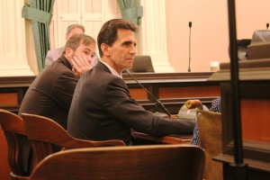 Photo by Mike Nemeth Sen. Mark Leno glances at a witness during the Assembly committee hearing where SB 1439 died.