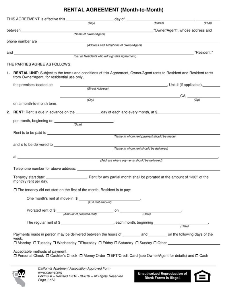 Rental Agreement Month To Month Form 2 0 California