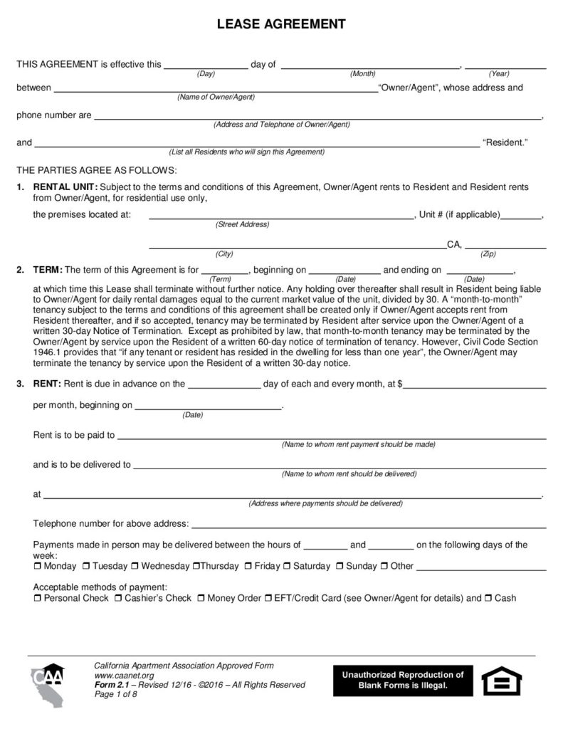 Lease Agreement – Form 2 1 – California Apartment Association