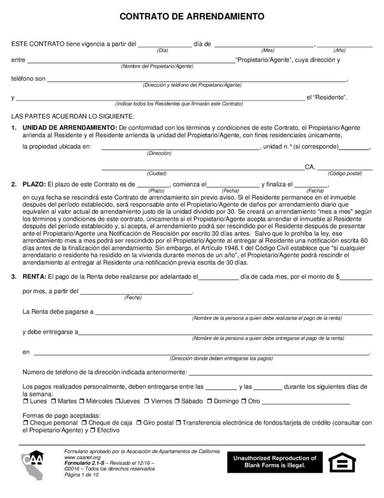 Lease Agreement Spanish Form 2 1 S California