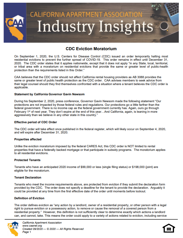 Preview of the first page of Industry Insight - CDC Eviction Moratorium