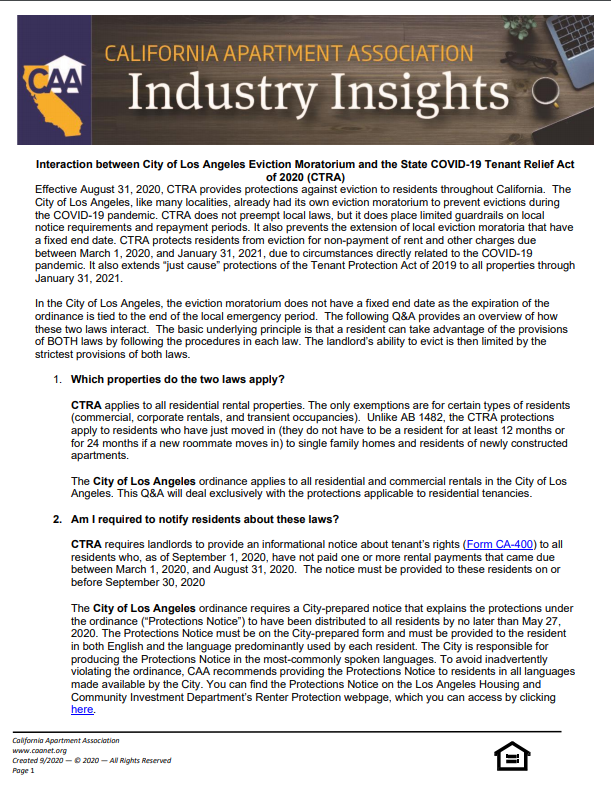 Preview of the first page Industry insight paper of interaction between the City of Los Angeles Eviction Moratorium and the State COVID-19 Tenant Relief Act (CTRA).