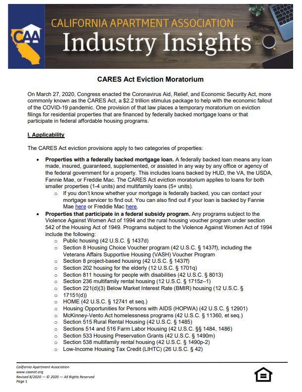 Preview of the first page of Industry Insight - CARES Act Federal Eviction Moratorium