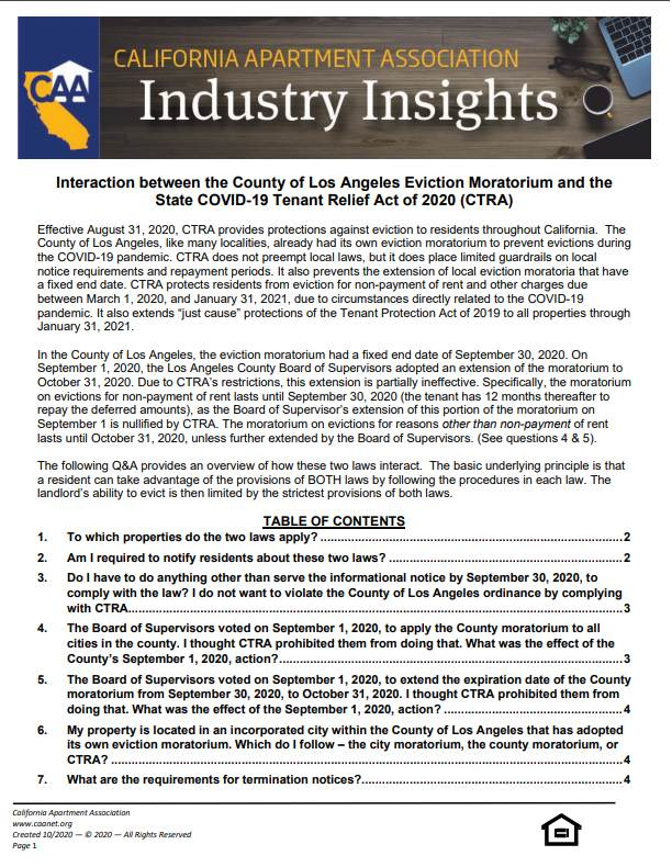 Preview of the first page Industry insight paper of interaction between the County of Los Angeles Eviction Moratorium and the State COVID-19 Tenant Relief Act (CTRA).