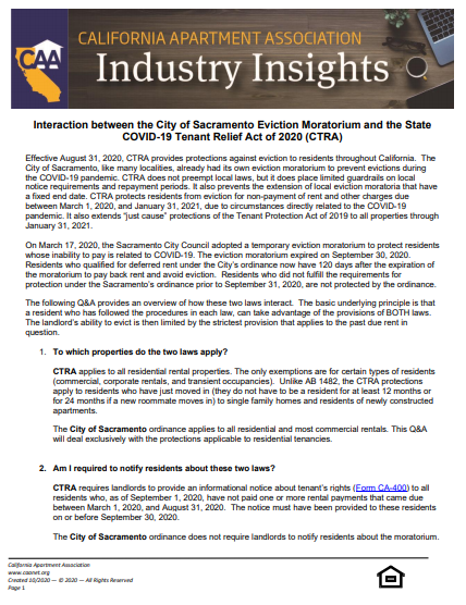 Preview of the first page Industry insight paper of interaction between the City of Sacramento Eviction Moratorium and the State COVID-19 Tenant Relief Act (CTRA).