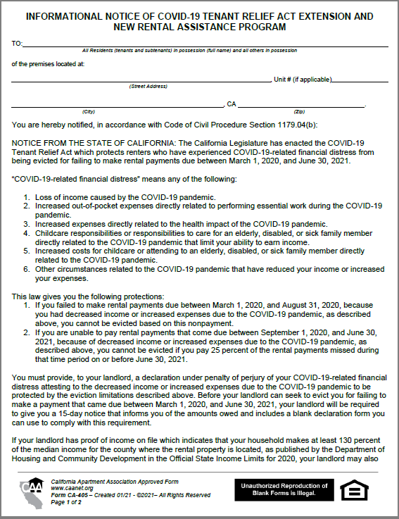 Preview of the first page of form CA-405 - Informational Notice of COVID-19 Tenant Relief Act Extension and New Rental Assistance Program