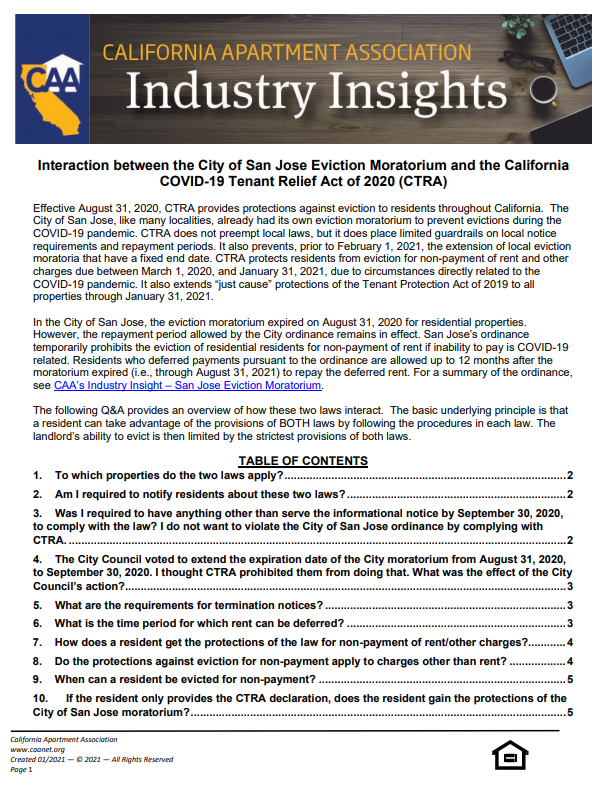 Preview of the first page Industry insight paper of interaction between the City of San Jose Eviction Moratorium and the State COVID-19 Tenant Relief Act (CTRA)