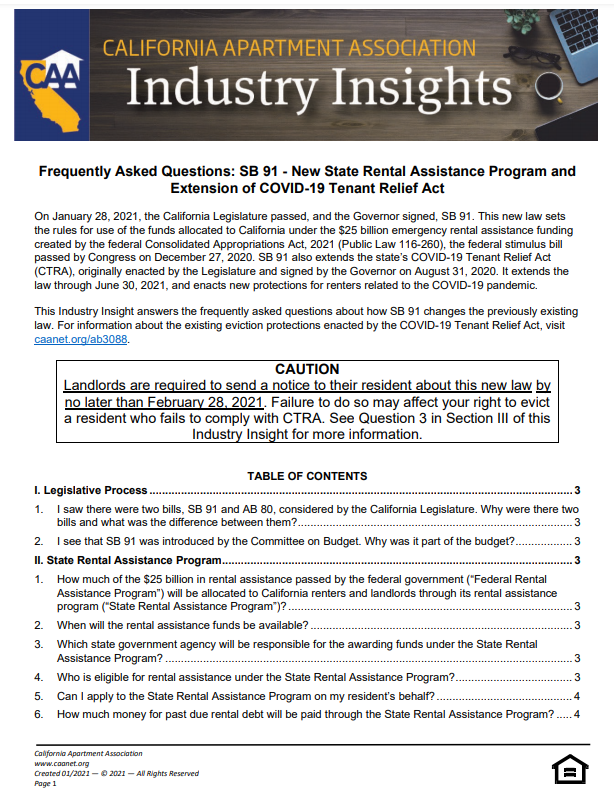 Preview of CAA's Industry Insight - Frequently Asked Questions: SB 91 - New State Rental Assistance Program and Extension of COVID-19 Tenant Relief Act